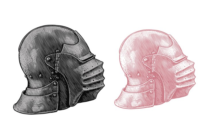 Knights helmet. Hand drawn illustration. Vector engraving.