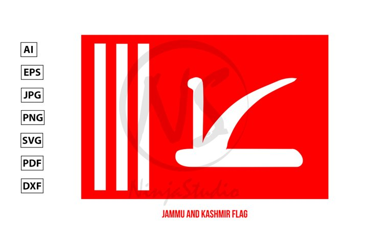 Jammu and Kashmir Flag. Official State Flag Of India