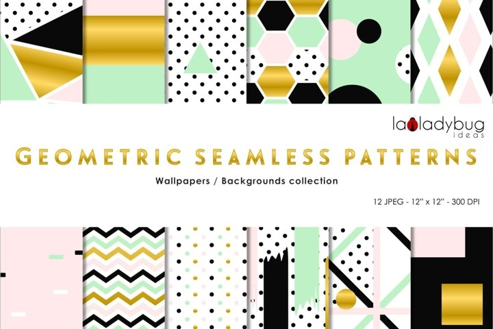 Golden, black, blush, mint geometric seamless digital papers