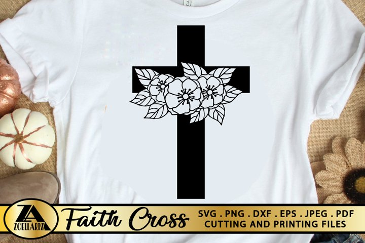 SVG-Flower Cross SVG PNG EPS DXF Cutting and Printing Files