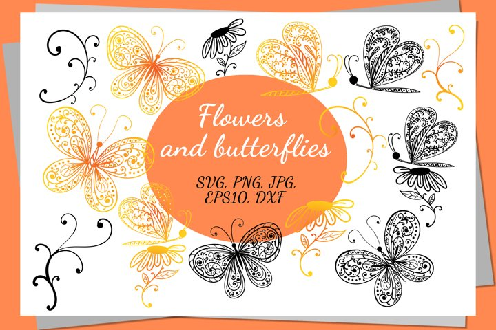 Decorative flowers and butterflies.