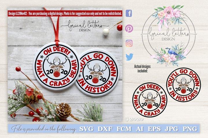 Reindeer 2020 Christmas Ornament SVG Cut File LL20Nov02