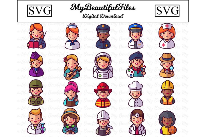 Kid Professions SVG - Jobs SVG Bundle