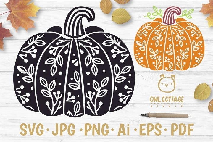 Floral Pumpkin svg, Thanksgiving Floral Decor