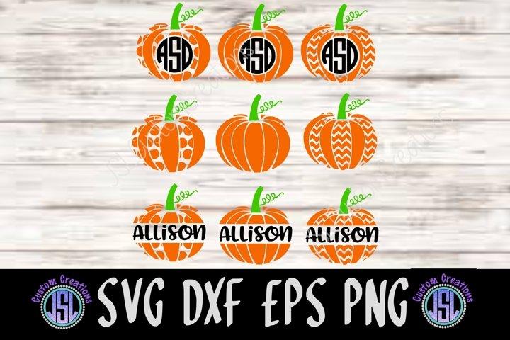 Pumpkin Monogram Frame Set of 9 Bundle | SVG DXF EPS PNG |
