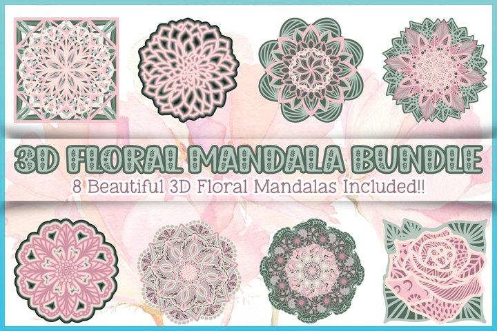 3D Layered SVG | 3D Floral Mandala Bundle | Stacked Mandala