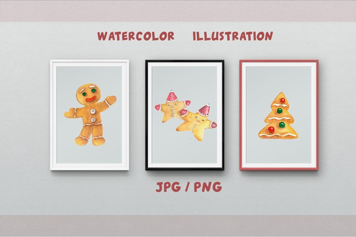 Gingerbread Clipart Sublimation design Watercolor PNG JPG