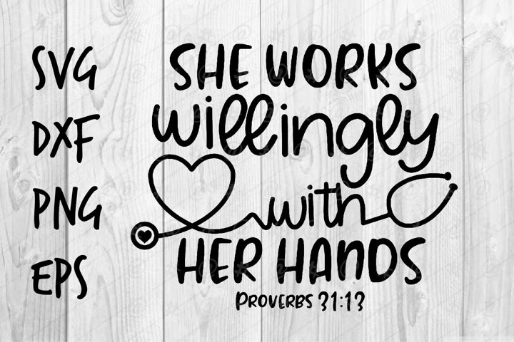 She works willingly with her hands SVG