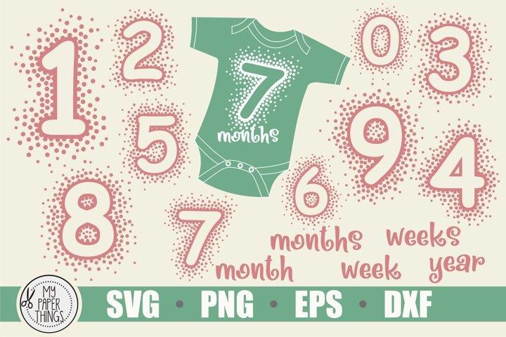Baby Milestones svg bundle | Numbers SVG | Polka Dot svg