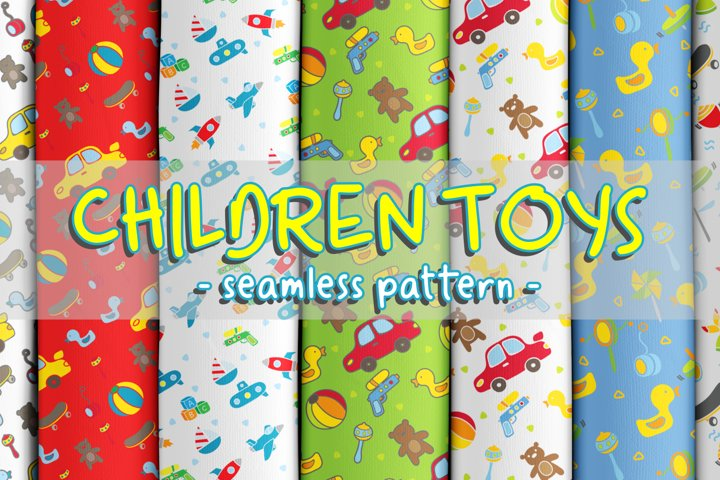 Cute baby toys seamless pattern