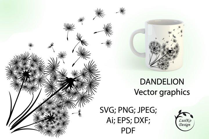 Floral clipart. Dandelion SVG, PNG, JPG, EPS, PDF, Ai.