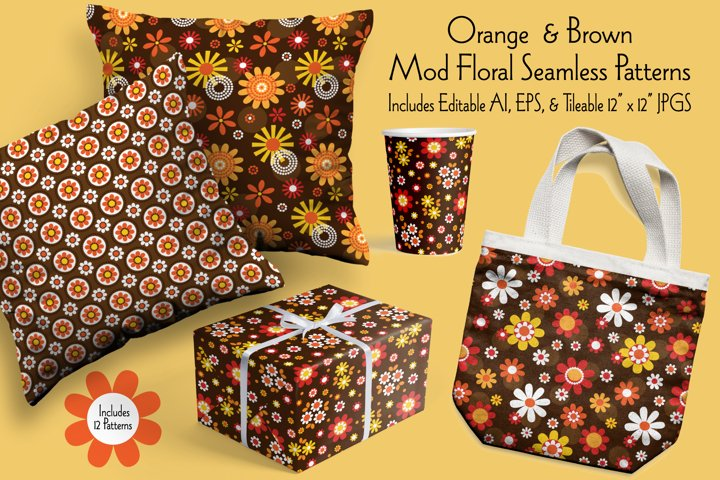 Orange & Brown Mod Seamless Floral Patterns