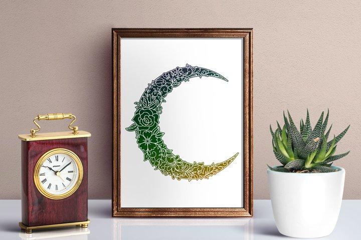 Floral Crescent Moon - SVG - Vector - Free Design of The Week Design0