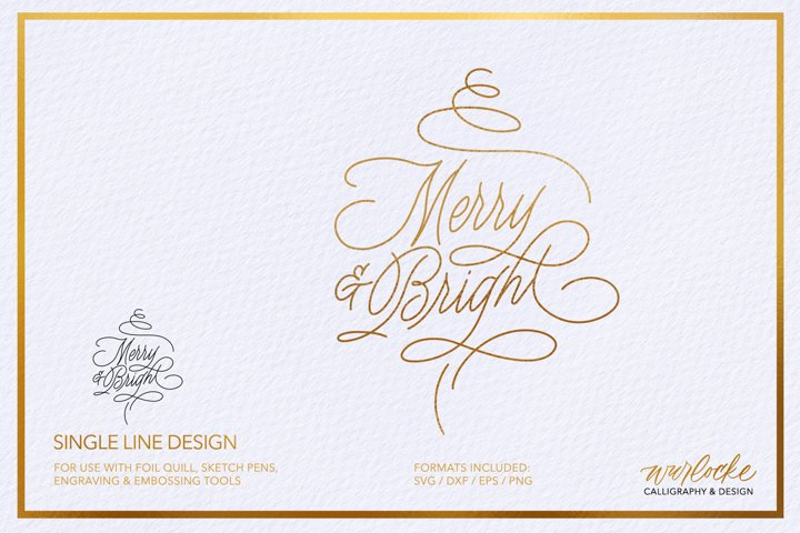 SVG Foil Quill Merry & Bright Christmas Single Line Design