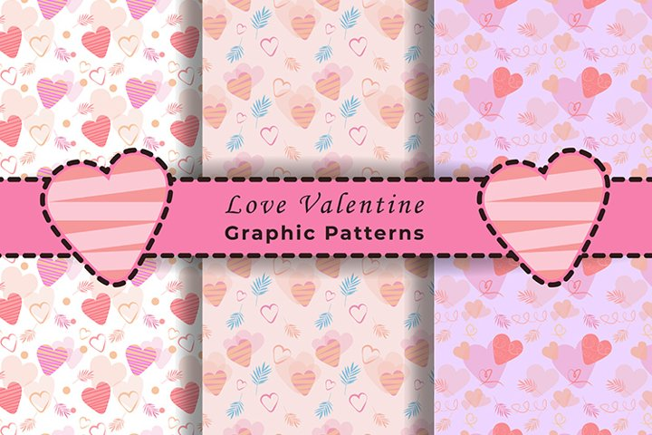 Love Valentine Seamless Graphic Patterns Full Pink