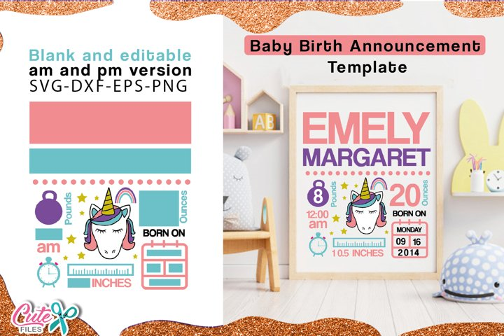 Baby Birth Announcement Template unicorn for girls