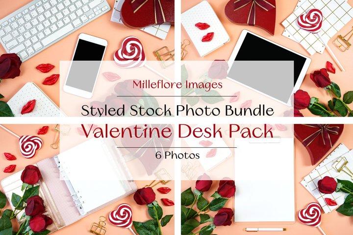 Valentine Desktop Flatlay Mockup Styled Stock Photo Bundle