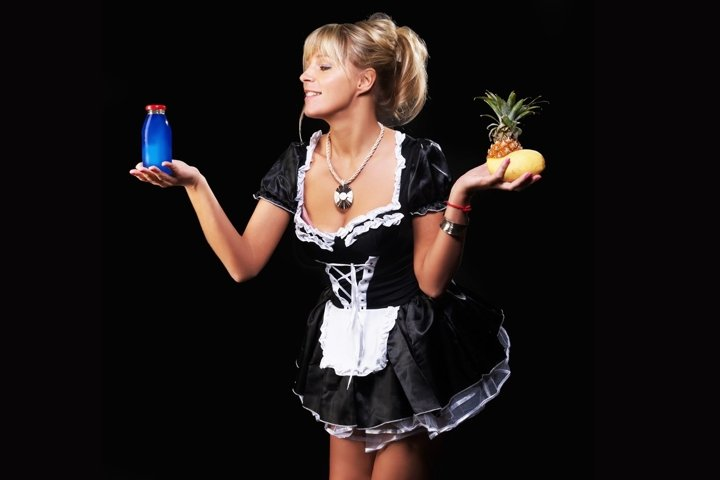 girl, glass, maid, juice, advertising, glass