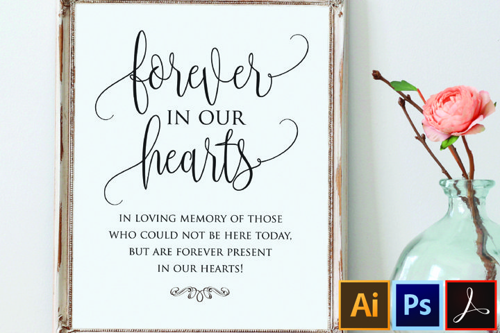 Forever in our hearts sign, In Loving Memory Sign Wedding