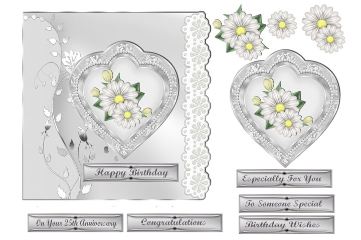 White Daisies & Heart Card Front