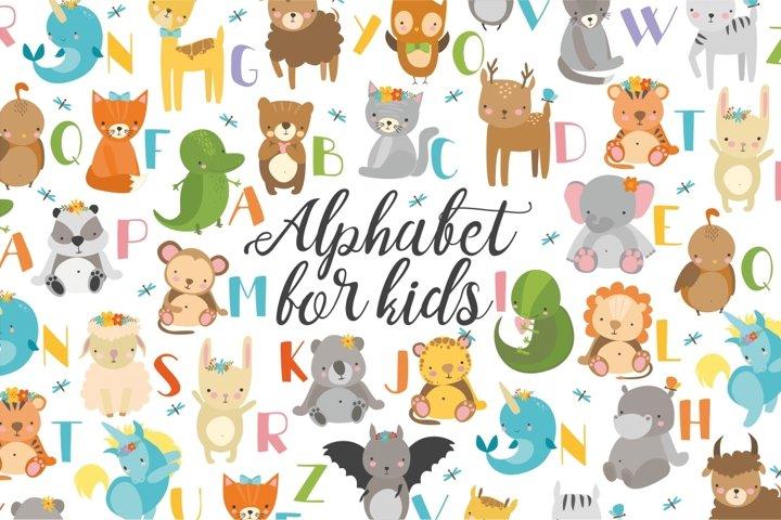 Alphabet letters, baby animals