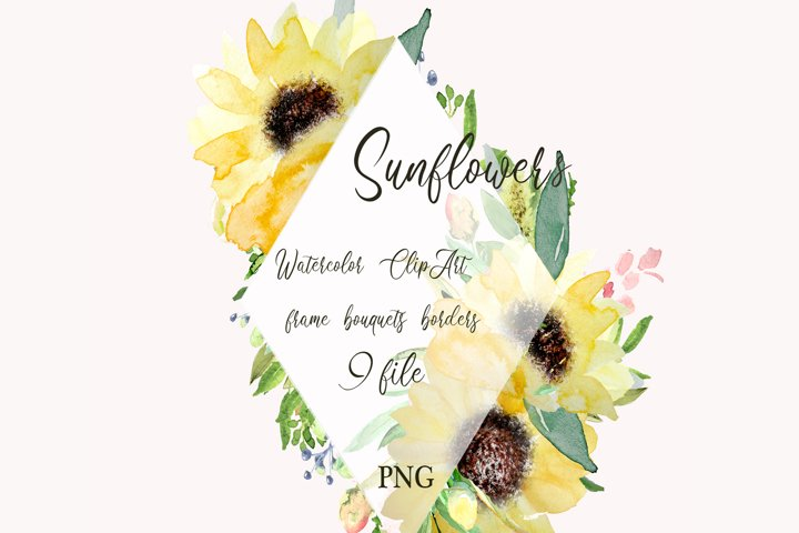 Sunflowers Watercolor Clipart for Wedding floral invitations