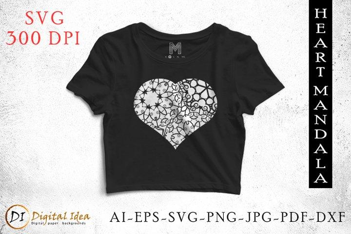 Digital heart svg. Heart Mandala. heart Svg