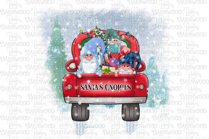 Santas Gnomies Red Truck with Presents & Tree Scene