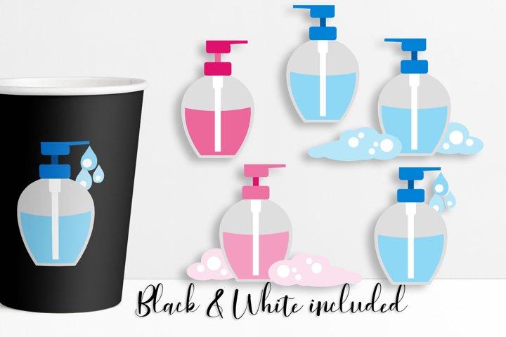 Hand soap bottles illustrations