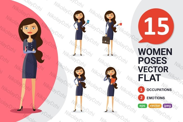 Business woman flat Character Cartoon collection vector