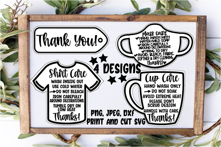 Face mask care instructions SVG DXF JPEG Silhouette Cameo
