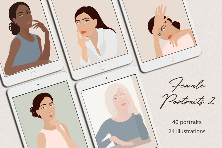 Female Portraits 2 Illustration Set