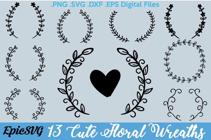 13 Floral Wreath Designs | .SVG .DXF .EPS | Wedding Gift Frame Cutting Digital Files