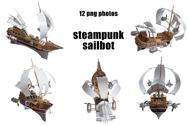 steampunk sailboat 12 isolated photos