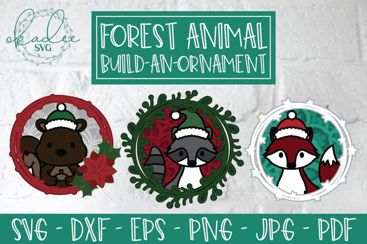 3D Forest Animal Ornament Bundle, Christmas Ornament SVG DXF