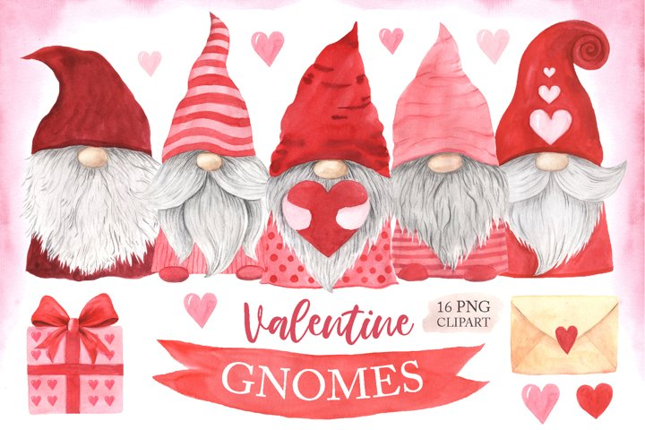 Watercolor Valentine Day Gnomes Clipart