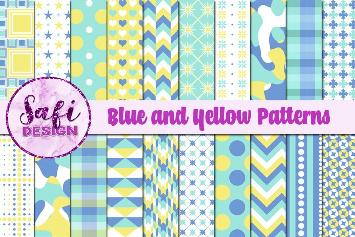 Digital Paper Backgrounds - Blue and Yellow Patterns
