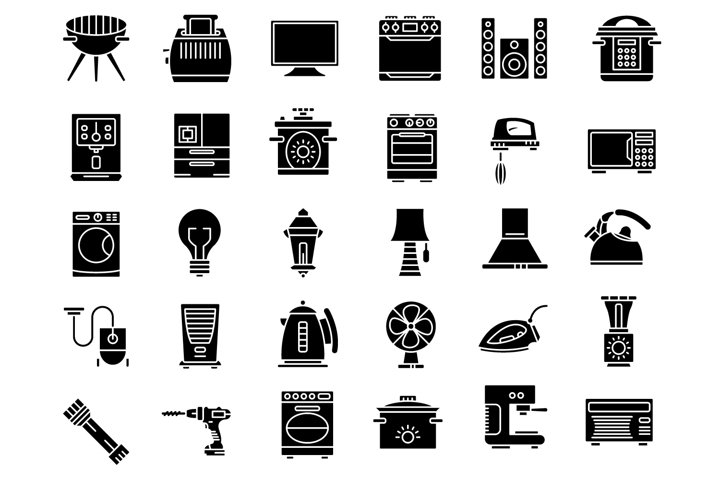 Household devices and appliance solid icons set