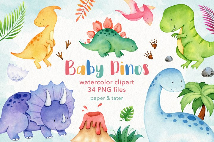 Watercolor Baby Dinosaur Clipart Graphics