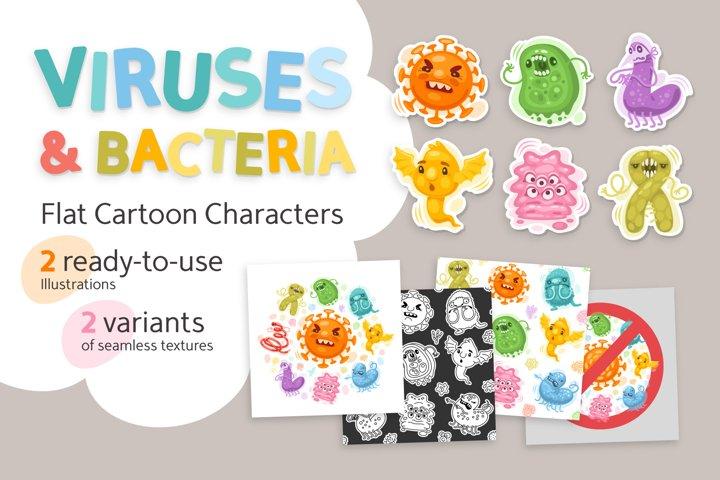 Viruses Cartoon Illustrations Set