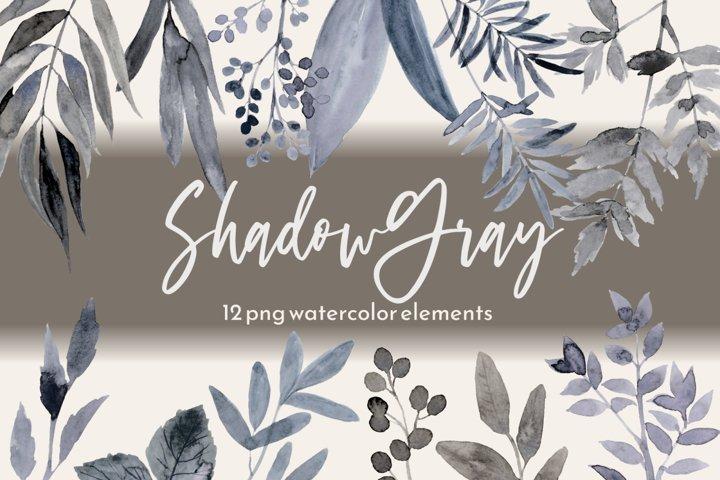 Gray Black Leaves Watercolor Wedding Clipart Set