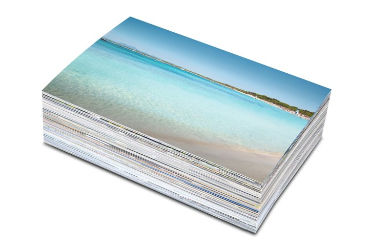 Mockup Stack of photos isolated on a white background.