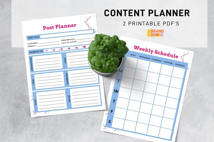 Content Planner Printable - Social Media Planning Template