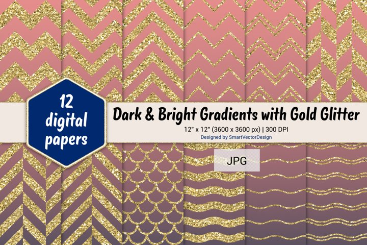 Chevron, Scales, & Waves - Gradients with Gold Glitter #58