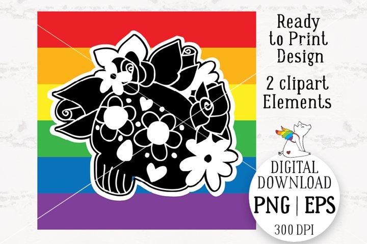 Skull Lgbt, Rainbow lgbt, Skull Roses Flowers, Cranium