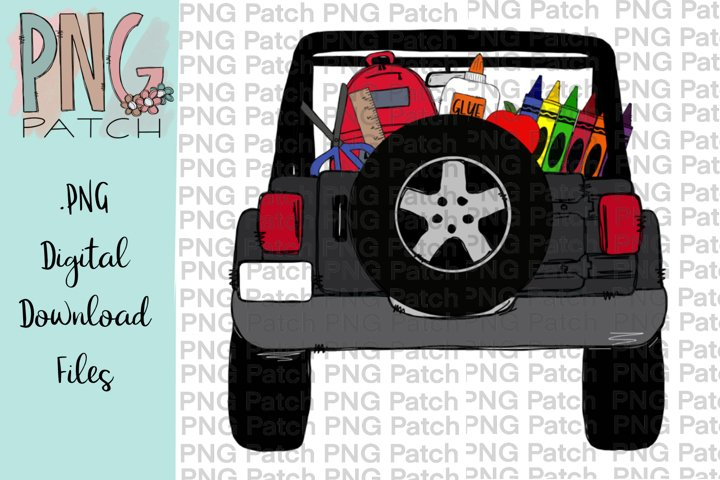 Gray Topless SUV Truck with School Supplies, School PNG
