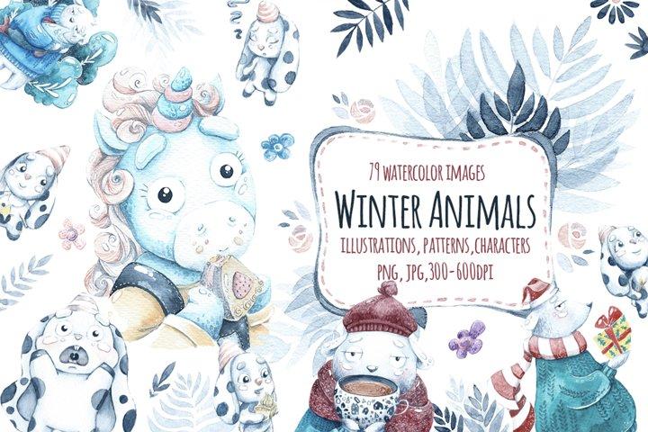 Watercolor Winter animals