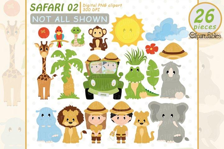 Cute SAFARI FRIENDS clipart, Jungle animals - INSTANT design