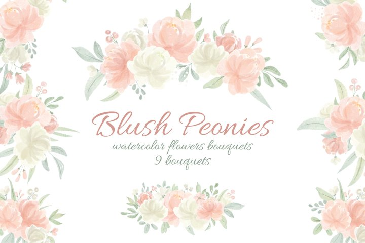 Watercolor Flowers Peachy Blush and Ivory Bouquets