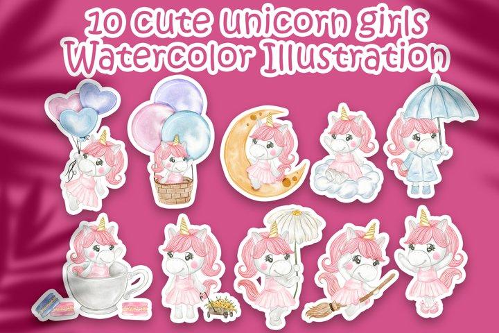 Set of Cute unicorn girls watercolor
